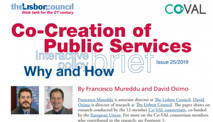 co-creation, design thinking, public services, policy brief, Co-VAL