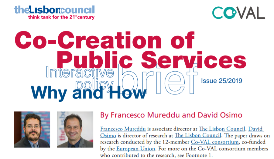 New Co-VAL Policy Brief: Co-Creation of Public Services: Why and How